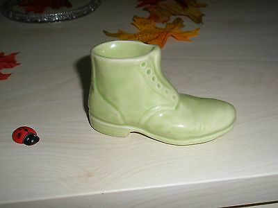 Collectable Vintage Miniature Porcelain Boot Light Green Early 1900's