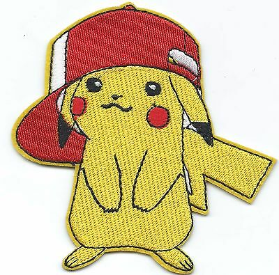 Pikachu Baseball Cap Pokemon Embroidered Patch Iron-on Good Luck 6cm