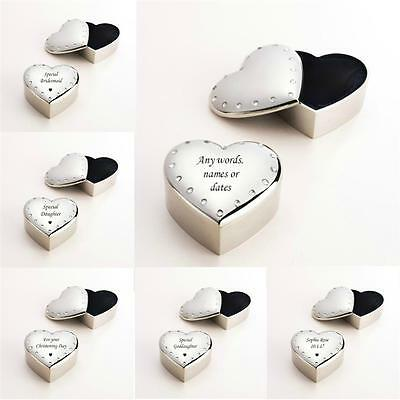 Small Heart Jewellery Box, Trinket Box, Any Engraving, Gift for Girl or Woman