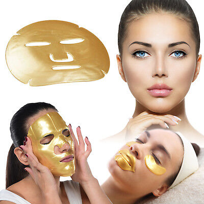 24K Gold Bio Collagen Face Lip Mask Wrinkle Tired Crow Feet Puffy Eyes Treatment