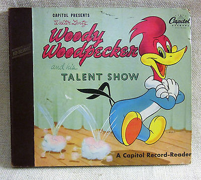 Vintage Mid 1900s Woody Woodpecker Talent Show, Book & 2 Record Set in Nice Cond