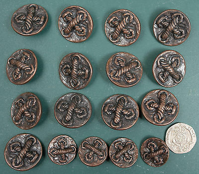 Set of 13 + 4 vintage  buttons. 26 &20mm Metallised plastic?