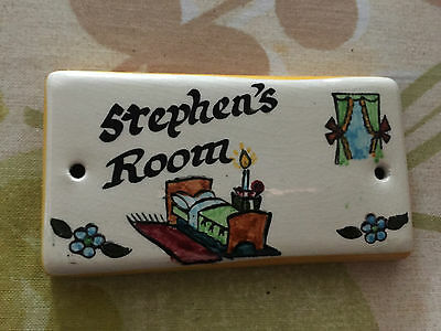 Vintage Toni Raymond Door Plaque Stephen's Room