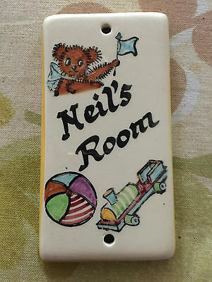 Vintage Toni Raymond Door Plaque Neil's Room