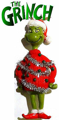 "NEW! Dr. Seuss ""How the Grinch Stole Christmas"" Ornament Santa Hat! Red Sweater!"