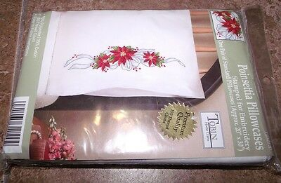 """Tobin Stamped Pillow Cases POINSETTIA  for Embroidery 20"""" x 30"""" 1 Pair"""