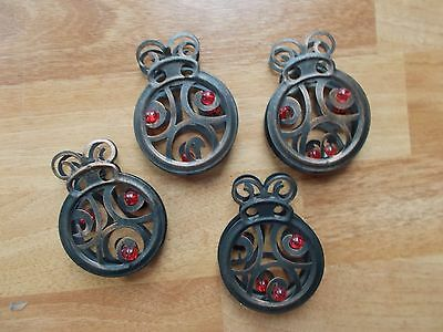 Metal Lady Bugs -4 Decor Hang Craft  Re-purpose Cute Collectible double sided