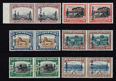 South West Africa 1927 pictorials set, MH pairs (SG#49/54)