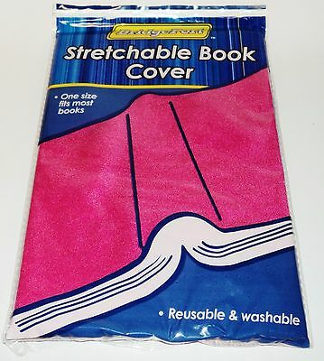 BRIDGEPORT One Size Fits Most Stretchable Book Cover Reuse & Washable PINK