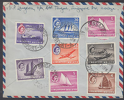 1961 Singapore 10 stamps (two sides), Singapore Slogan+Airport CDS Airmail: USA