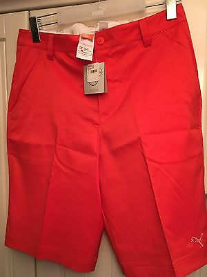 "Puma Golf Solid Tech Shorts 32"" Waist In Red Brand New"