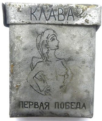 Cigarette case 1942 BOX Nude GIRL ww2 RUSSIA wwII 01 03 EROTIC Russian text FIRS