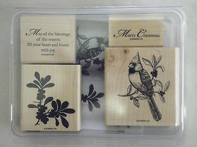 Stampin Up - A Cardinal Christmas - 111760 - 4 Rubber Stamps - Mounted - Used