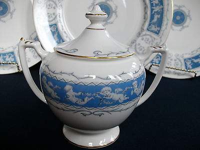 Coalport Revelry Blue- Smooth (1970+) Covered Sugar Bowl- Excellent! Mint! Gilt!