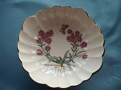 Prinknash Pottery of Gloucester, footed bowl, Dianthus barbatus, Florabunda