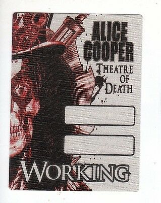 ALICE COOPER backstage pass tour SATIN WORKING cloth