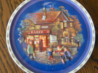 Collectable -  Round Biscuit Tin - Winter Village Scene (Empty)