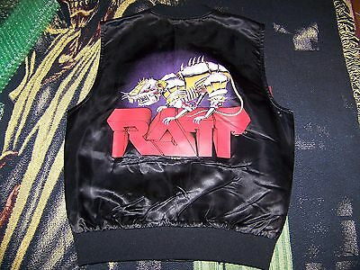 NOS NEW Vintage 80s RATT Band 1983 Music Concert Satin Acetate Vest Jacket Sz. S