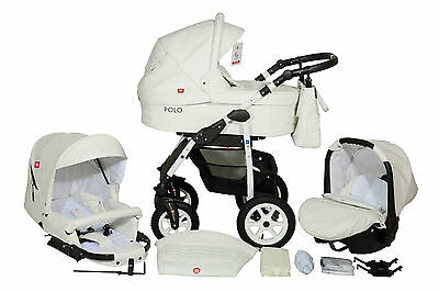 Polo Baby Pram Buggy 3in1 Stroller Pushchair Car Seat Carrycot Travel System