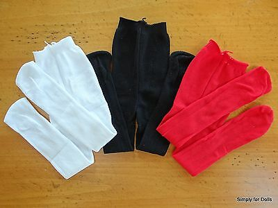 """Set 3 White Black & Red DOLL TIGHTS STOCKINGS fits 15"""" & 18"""" AMERICAN GIRL"""