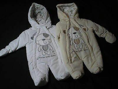 Newborn Baby Snowsuit All in One Coat Cream/White new Boy/Girl New