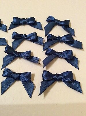 20 Navy Blue 10mm Ribbon bows �� for card making/scrap booking help charity