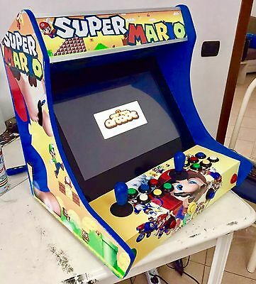 "Mario Style Cabinet ARCADE BAR CLASSIC GAMES MAME 19"", 2 PLAYERS PLUG N' PLAY"
