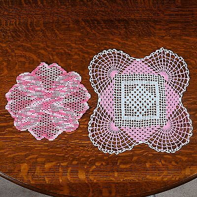 "2 Hand Crocheted Doilies - 1 Round 10-1/4"" Dia., 1 Square 12-1/2"" X 12-1/2"""