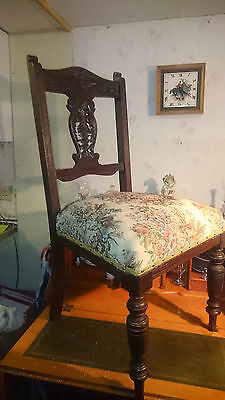 Antique Edwardian Carved Mahogany Upholstered Make Up / Nursing Bedroom Chair.