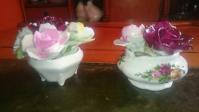 Flower Baskets by Royal Doulton & Royal Albert in Fine Bone China & Hand Painted