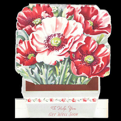 Lot of Two Vintage Get Well Flower Box Greeting Cards