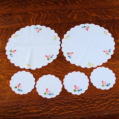 """6 Doilies - Approx. 14"""" & 6-1/4"""" Dia., White/pink Trim With Appliqué Flowers"""