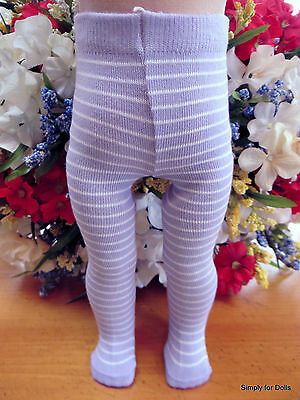 "**SALE** LAVENDER & WHITE Doll TIGHTS STOCKINGS fit 15"" & 18"" AMERICAN GIRL DOLL"
