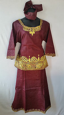 Women Clothing African Dashiki Skirt Suit Attire Maroon Free Size Print #9318