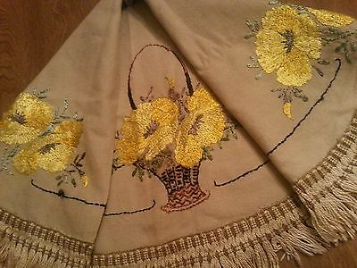 Antique Tablecloth Arts Crafts Embroidered Poppies Primitive Runner Decor
