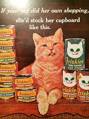 Vintage 60s Morris The Cat Friskies Ad Advertisement Orange Cats Kittens
