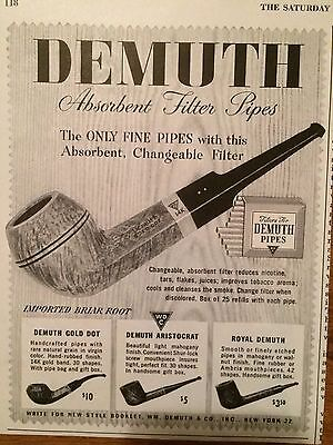Vintage 40s Small Demuth Smoking Pipe Advertisement Ad