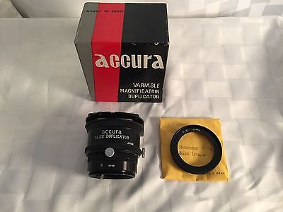 Accura Variable Magnification Slide Duplicator In Original Box-Excellent Cond