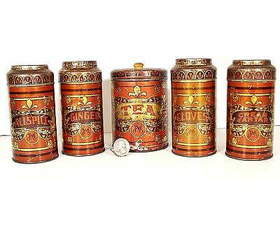 Antique Orig HMC 5pc Tea&Spice Tin CANISTER Set Hoosier Cabinet Kitchen Cupboard