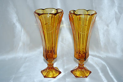 2 Fostoria Amber Coin Pattern Footed Bud Vases - Alternating Paneled Pattern