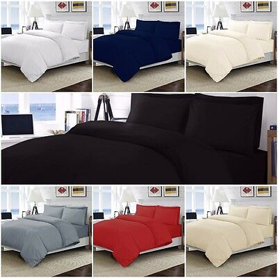 100% Egyptian Cotton Duvet Quilt Cover Bedding Set 200 Thread Count  All Sizes
