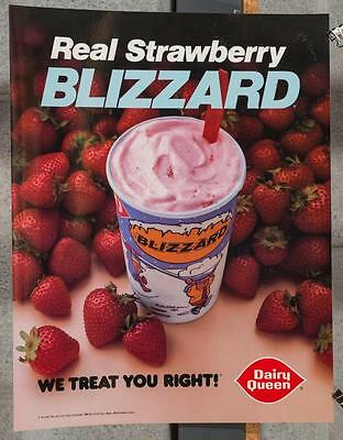 Vintage Dairy Queen Promotional Poster Real Strawberry Blizzard 1985 dq2