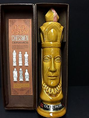 Vtg Old Crow Whiskey Limited Chessmen Ceramic Decanter Chess Piece - Light King