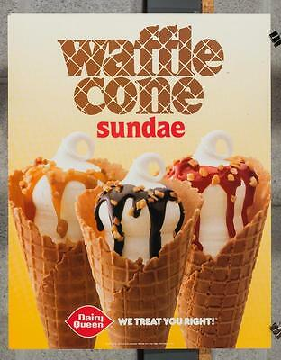 Vintage Dairy Queen Promotional Poster Waffle Cone Sundae 1990 dq2