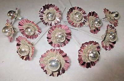 **12**pink/ Silver Foil Flowers W/  Silver Glass Ball Center=