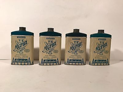 Lot of 4 Vintage Meritt Medicated Powder Advertising Metal Tin Bottle Has Powder