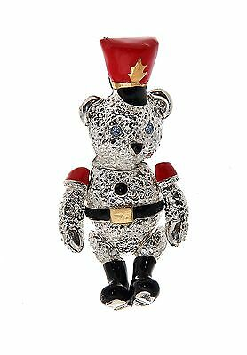 Vtg Toy Soldier Bear Pin Christmas Napier Fully Articulated Silvertone Enamel