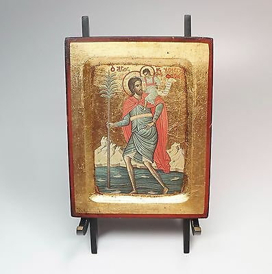 "Vintage Gold Leaf on Wood Greek Icon St Christopher & Christ Child 7"" x 5.5"""