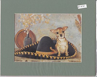 """8"""" X 10"""" MOUNTED  LITHOGRAPH PRINT of  A  CHIHUAHUA  ( with hat  )"""