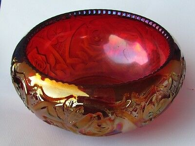 FENTON RED FERNERY CARNIVAL GLASS  ... Iridized and Perfect and FREE SHIPPING